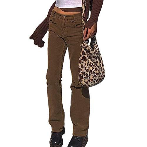 Damen Cordhose gerade hohe Taille Casual Weite Bein Loose Hose Cordhose Gr. 32-34, coffee