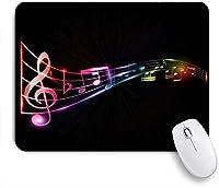 NIESIKKLAマウスパッド Rainbow Notes Beating Dance Melody Black ゲーミング オフィス最適 高級感 おしゃれ 防水 耐久性が良い 滑り止めゴム底 ゲーミングなど適用 用ノートブックコンピュータマウスマット