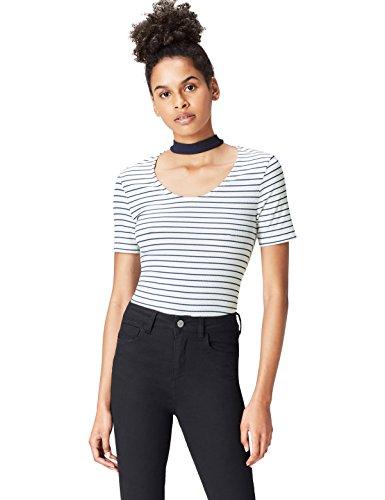 Marca Amazon - find. Camiseta con Cuello Redondo Mujer, Blanco (Stripe Mix), 40, Label: M