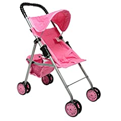 Pink Quilted DOLL STROLLER with hood, seat belt, and basket Made of Top Quality NO TEAR FABRIC - double stitched for ADDED DURABILITY Product Dimensions: 20.5 inches. great for BABY DOLL and 18 INCH DOLLS. folds for easy storage. Comes fully assemble...