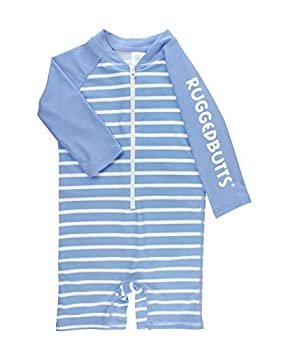 RUGGEDBUTTS Baby/Toddler Boys Cornflower Blue Stripe One Piece Rash Guard with UPF 50+ Sun Protection - 12-18m