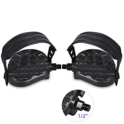 """DRBIKE Stationary Bike Pedals - 1/2"""" Bike Pedals for Spin Bike, Recumbent, Exerciser Bicycle with 1 1Pair Adjustable Strap/Teo Clip, Black"""