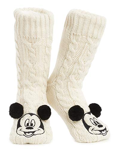 Disney Mickey Minnie Winter Socken, Kuschelsocken Damen Mädchen Warm Ultra-Bequeme Hausschuhsocken Antirutsch Flauschigem Sherpa-Futter, Tolles Geschenk für Mama (Micky Maus)