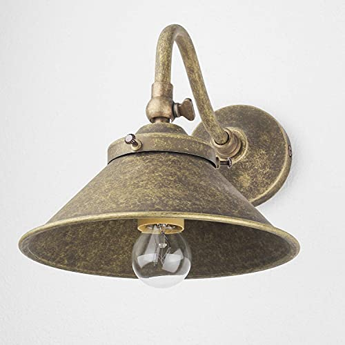 Applique da interno Alice in ottone bronzo antico retrò lavorato a mano stile industrial orientabile H:16 cm E14 per sala da pranzo soggiorno