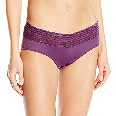 Warner's Women's No Pinching No Problems Lace Hipster Panty, Purple Fig, Large (7)