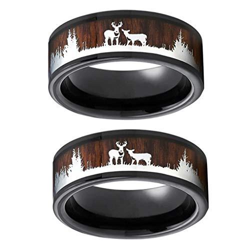 Detrade 2pcs Unisex Black Ring Holz Inlay Hirsch Hirsch Silhouette Ring Mens Ehering Kratz- und Anlaufschutz Hirsch Hirschring (9, A)