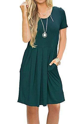 AUSELILY Damska plisowana luźna luźna sukienka z krótkim rękawem i kieszeniami do kolan(Ciemnozielony,Large)