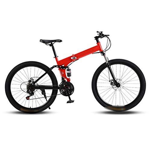 Ouumeis Mountain Faltrad, 26-Zoll-24-Gang-Speichenrad Mit Variabler Geschwindigkeit Doppelstoßdämpfer Fahrrad Mountain Faltrad Schnell Faltbar, Leicht Zu Tragen,Rot