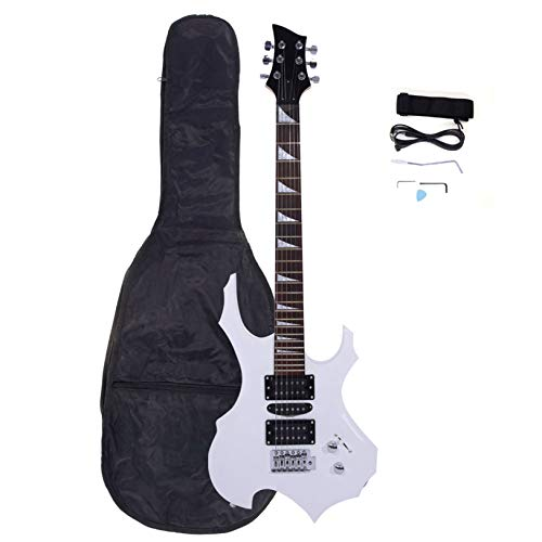 Novice Flame Shaped Electric Guitar HSH Pickup Bag, Strap, Paddle, Rocker, Cable, Wrench Tool White - Affordable & Great Electric Guitars for Beginner Starter
