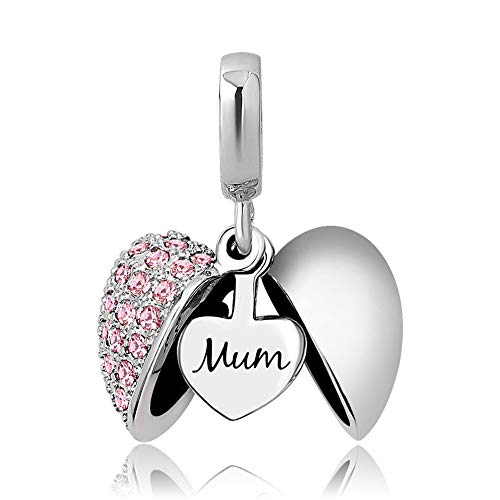KunBead Jewelry Mum Charms Clearance for Women Love Heart Pink Crystal Dangle Beads for Charm Bracelets