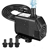 Winkeyes 800GPH Fountain Pump, 70W Outdoor Fountain Pump with Anti Dry Burning, Ultra Quiet Submersible Pond Pump with 10ft High Lift, 5.9ft Power Cord, 3 Nozzles, No Water Flow Adjustment