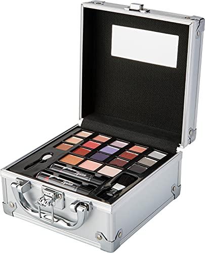 Markwins Maletín de Maquillaje Travel in Colour Makeup Train Case - The Color Workshop - Un Kit de Maquillaje Profesional Completo en un Maletín Plateado de Viaje para Llevar Siempre Contigo