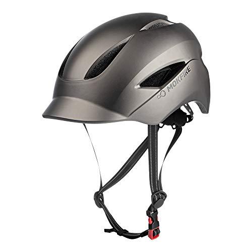 MOKFIRE Casco de Bicicleta para Adultos con luz de Seguridad Recargable USB y Correa reflectora, Casco de Bicicleta Urbano CPSC y Certificado CE para Adultos Hombres/Mujeres 57-61 cm