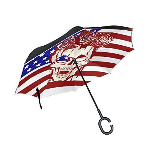 SKYDA Doppellagige umgekehrte Regenschirme Tattoo-Regenschirm Winddicht Regenschirm für Auto Regen Outdoor mit C-förmigem Griff