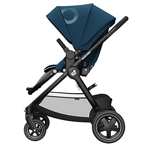 Maxi-Cosi Adorra² Kinderwagen, komfortabler, zusammenklappbarer Kombi-Kinderwagen mit Einkaufskorb und mehreren Sitzpositionen, nutzbar ab Geburt bis ca. 4 Jahre (0-22 kg), essential blue, blau