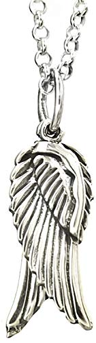 Guardian Angel Wing Silver Pendant Necklace (Small) for Women/Men/Unisex/Teenager/Girls/Boys On 20 Inch Chain - 925 Sterling Silver Size: 8mm W X 26mm H - Weight: 2.10 Grams