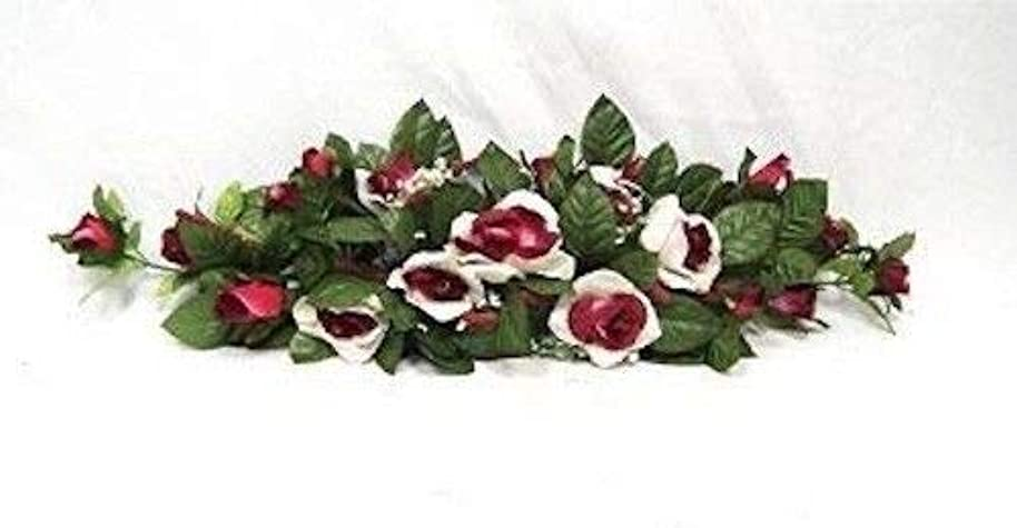 Cream Burgundy Swag Silk Wedding Roses Centerpiece Flowers Arch Gazebo Pew Decor