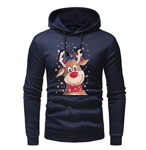 Tomatoa Herren Weihnachts Pullover Jacke Kapuze Hoodie Sweatshirt Kapuzenpullover Winter Kapuzenpullis Winter Warm Weihnachten Tops