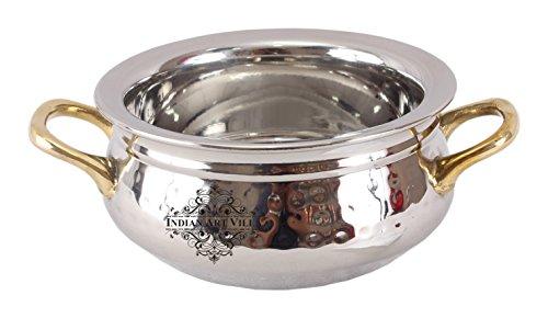 IndianArtVilla Acier Pince de Bol avec poignée Laiton Double Couche |400 ML| pour Servir Plats Hoem Hôtel Restaurant, Acier Inoxydable, Silver, 17.5