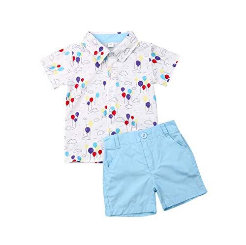 Bebé Niño Traje de 2 Piezas Conjunto Top Camisa de Manga Corta Pantalón Corto Camiseta con Estampado Infantil Ropa Verano de Playa para Vacaciones (Globos, 1-2 Años)