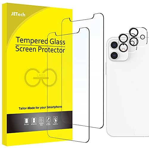 JETech Panzerglas und Kamera Schutz Kompatibel mit iPhone 12 6,1 Zoll (Nicht für iPhone 12 Pro), Gehärtetem Glas Schutzfolie, 2 Stück Jeweils