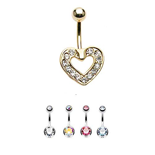 FIVE-D 5 stuks navelpiercing set kristallen kogel 5 & 8 mm & kristallen hart verguld