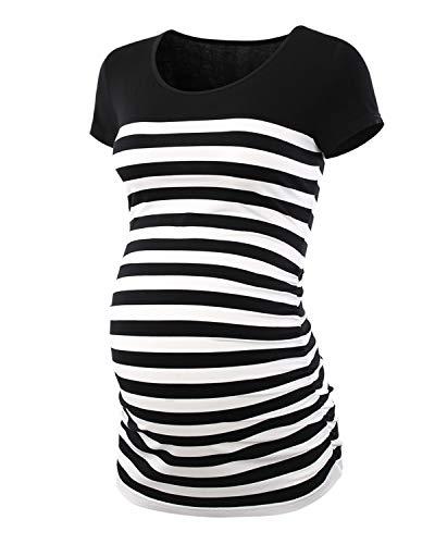 Love2Mi Damen Langarm Striped Schwangere T-Shirt Umstandsshirt Schwangerschaft Rundhals Top,Kurzarm Schwarze,M