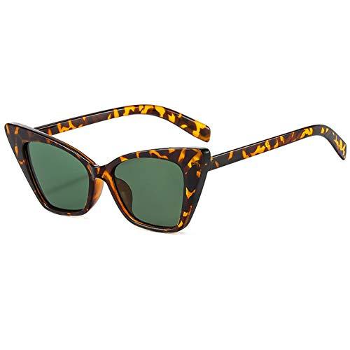 DovSnnx Gafas De Sol Unisex para Hombres Y Mujers Polarizadas Protección UV400 Clásico Vintage Moda Sunglasses Montura Triangular De Leopardo Lentes Verde Oscuro