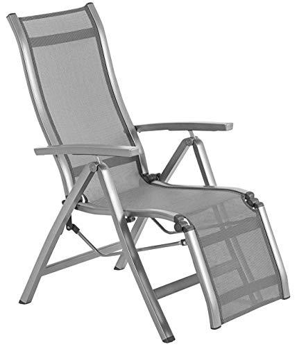Dehner Relaxstuhl Chicago, klappbar,110 x 69.5 x 63.5 cm, Aluminium/Kunststoff, grau