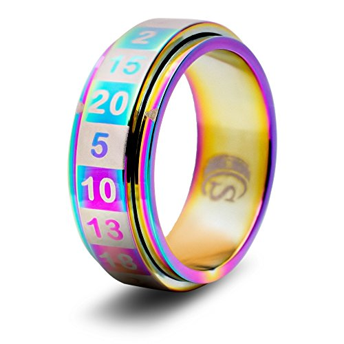 CritSuccess d20 Dice Ring with 20 Sided Die Spinner (Size 9.5 - Stainless Steel - Rainbow)