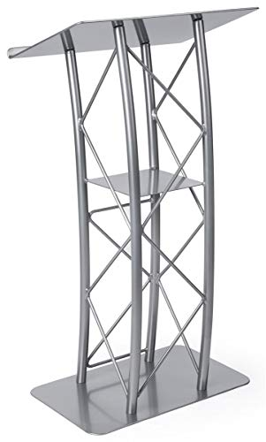 Silver Aluminum & Steel Truss Lectern with Curved Design and Built-in Shelf, 47 inches Tall