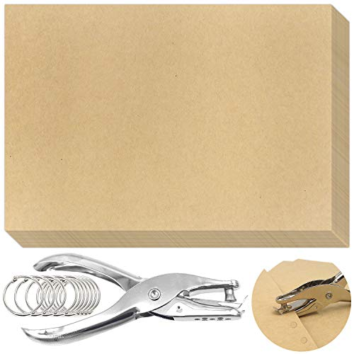 JJQHYC Carta Kraft A4 / 100 g / m2 con Anello per Rilegatura perforatrice, 100 Fogli di Carta da Stampa Marrone Naturale