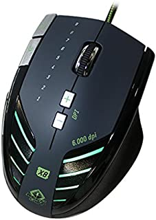 Keep Out Gaming X8 - Ratón Gaming láser, Color Gris, Verde y Negro