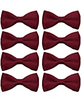 AVANTMEN Men's Bowtie 8 Pack Classic Pre-Tied Satin Formal Tuxedo Bow Tie Adjustable Length Large Variety Colors Available (Burgundy Red)