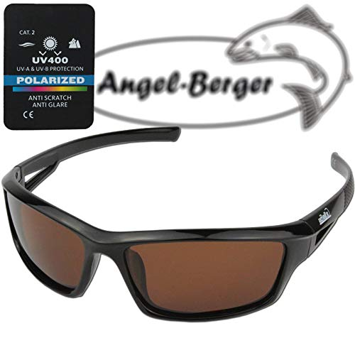 Angel-Berger High UV Polarisationsbrille Verschiedene Modelle Polbrille Angelbrille (Magic Baits braune Gläser)