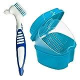 Runfon Zahnersatz- Cleanning Set Dental Gebiss Box mit Prothesenbürste Gebissreinigungskoffer...