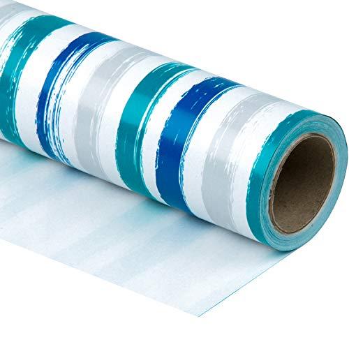 RUSPEPA Geschenkpapierrolle - Blaue Marine Und Graue Linien Drucken Für Geburtstag, Feiertag, Hochzeit, Babyparty-Geschenkverpackung - 76CM X 10M