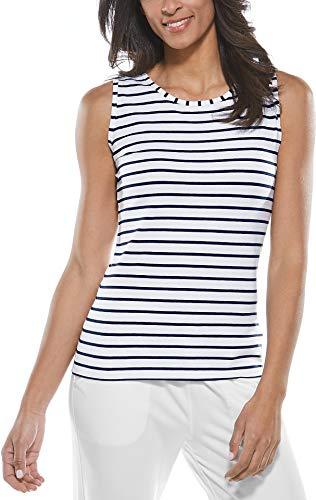 Coolibar Top Basique pour Femme, Protection UV 50, Bleu foncé/Blanc, Taille 38