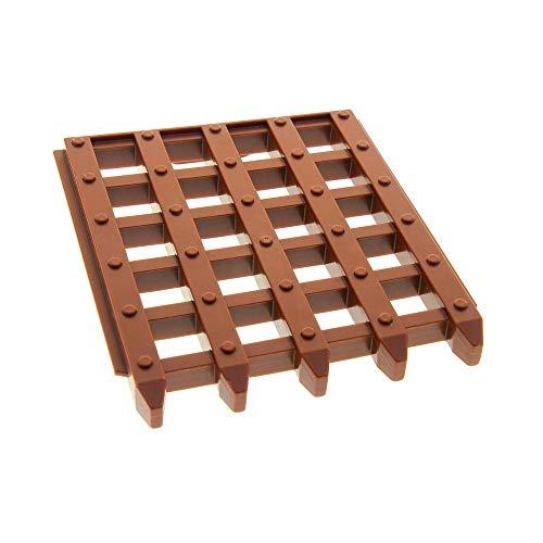 LEGO 1 x Duplo Burg Tor Tür Schiebe Gitter Reddish rot braun 6x7 Führung Door Sliding Grille für Set Brücke Ritter Burg Schloss 4864 4777 4249075 51702