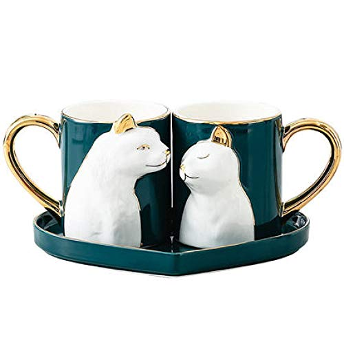 Cup Mug Luxurious Hotel Coffee Shop 2 Colors Optional Couple Cup Porcelain Cup Mug Couple Pair of Cups Creative Cup Coffee Cup Birthday Present Gift B 300ml*2