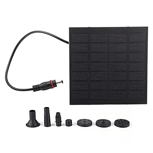 01 Fuente Solar, Bomba de Agua de Fuente Solar 1.2W Kit de Panel Solar DC sin escobillas Mini Bomba de Fuente de energía Solar Fuente de Agua Solar para Estanque de Piscina