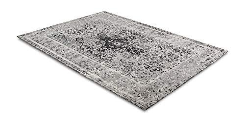 LIFA LIVING 80 x 150 cm vintage tapijt voor woonkamer en slaapkamer, woonkamertapijt met patroon, oosters, zwart grijs, van zacht chenille