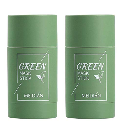2 Pack Green Tea Purifying Clay Face Mask Stick Oil Control Anti-Acne Aubergine Fine Solid, Blackhead Remover Acne Cleansing Solid Face Mask Pores Shrink (2 x Green Tea)