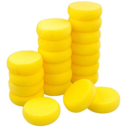 LANIAKEA 50 Pack Paint Sponge 2.9 Inch Synthetic Sponge Watercolor Round Yellow Sponges for Art Crafts Pottery Ceramics Clay Painting