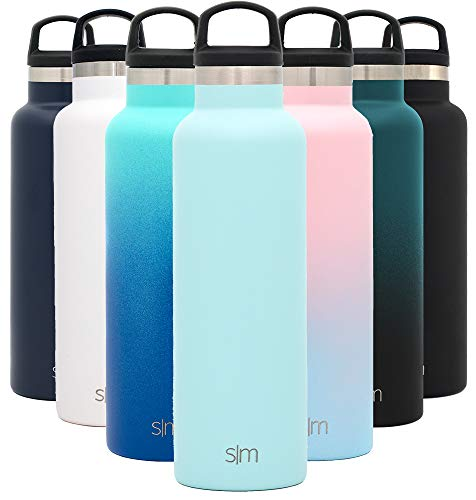 Simple Modern 20oz Ascent Water Bottle - Hydro Vacuum Insulated Tumbler Flask w/Handle Lid - Blue Double Wall Stainless Steel Reusable - Leakproof -Seaside