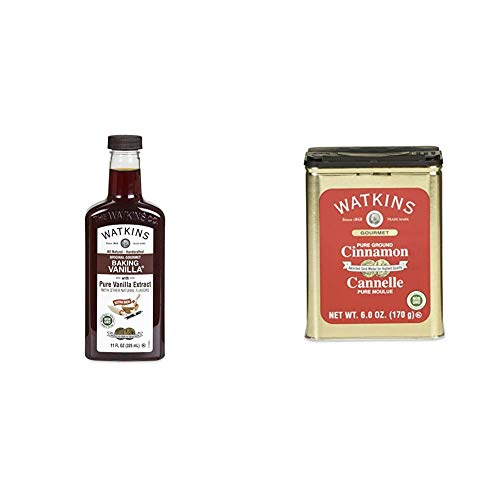 Watkins All Natural Original Gourmet Baking Vanilla, with Pure Vanilla Extract, 11 ounces Bottle, 1 Count (Packaging May Vary) & Gourmet Spice Tin, Pure Ground Cinnamon, 6 oz. Tin, 1-Count