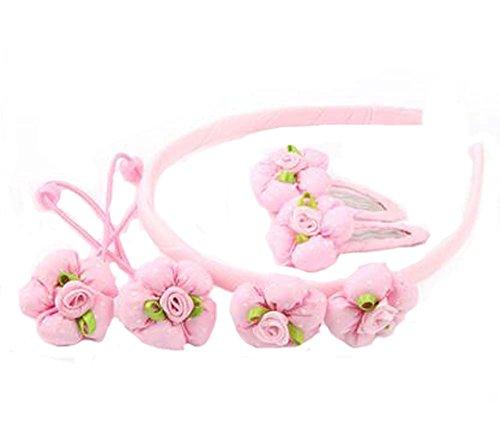 Ensemble de 5 bandes de cheveux pour enfants Beautiful Hairpins and Hair Circle, Rose