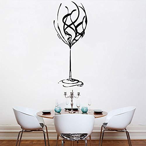 XCSJX Abstrakte Wandaufkleber Restaurant Art Deco Übergroße Weinglas Vinyl Abnehmbare Wandtattoo Home Decor Küchenbar 62x24cm