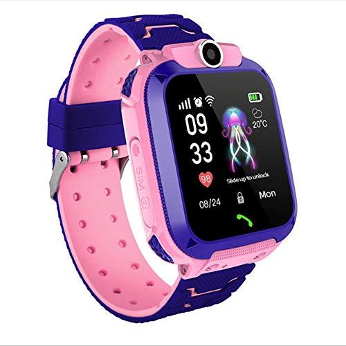 Fancylande Q12B Smartwatch voor kinderen met GPS-tracker voor kinderen, smartwatch, waterdicht, afstandsbediening, camera, smartwatch voor Android iOS, blauw/roze/geel