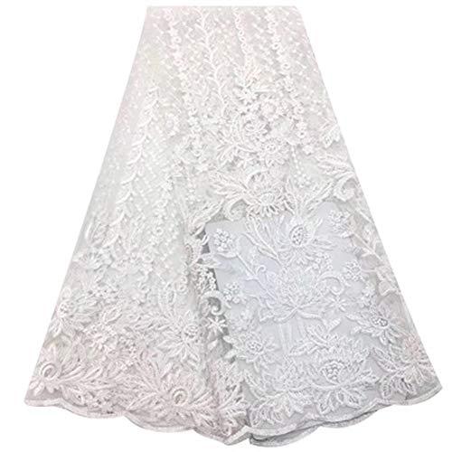 Tela africana de encaje con flores 3D bordadas a la moda para fiestas, bodas, tela de sari nigeriano, sintético, blanco, 10 años